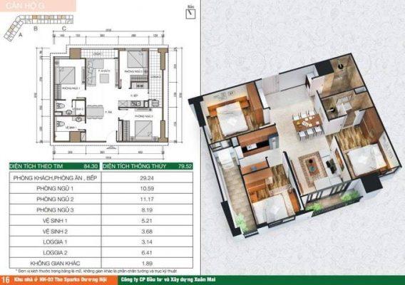 Bán chung cư C2506 tòa C chung cư Xuân Mai HH2 – Dương Nội – Hà Đông