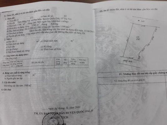 Cần bán nhanh mảnh đất khu vực Phú Mãn – Quốc Oai